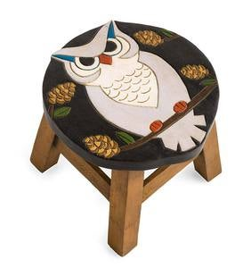 Hand-Carved Wood Owl Footstool