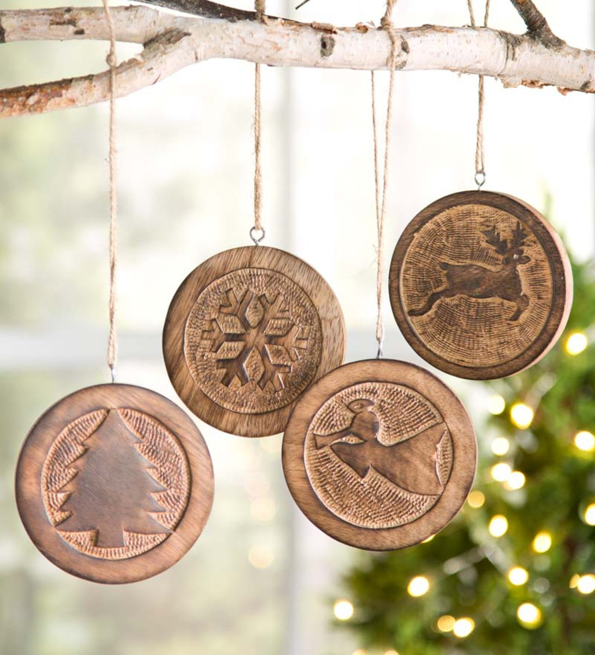 Carved wooden christmas ornaments set of plowhearth