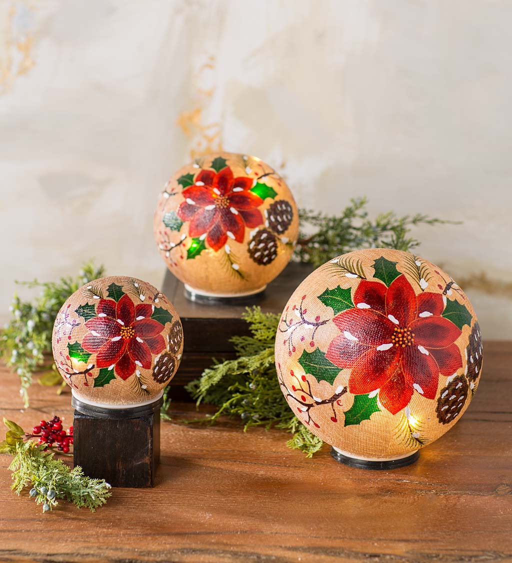 Lighted Glass Poinsettia Holiday Globes, Set of 3