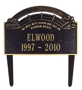 American-Made Personalized Rainbow Bridge Pet Memorial Lawn Plaque