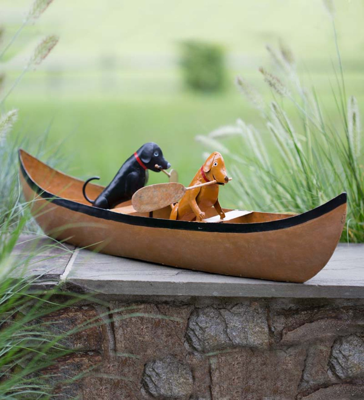 Recycled Metal Canoeing Canines Accent