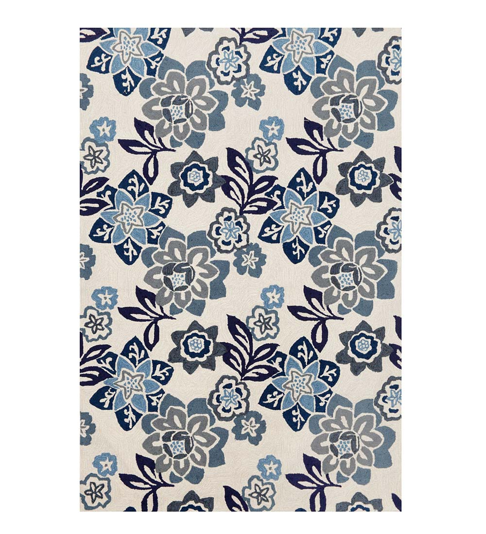 China Blue Floral Accent Rug