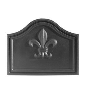 Fleur de Lis Cast Iron Fireplace Fireback In Matte Black Finish