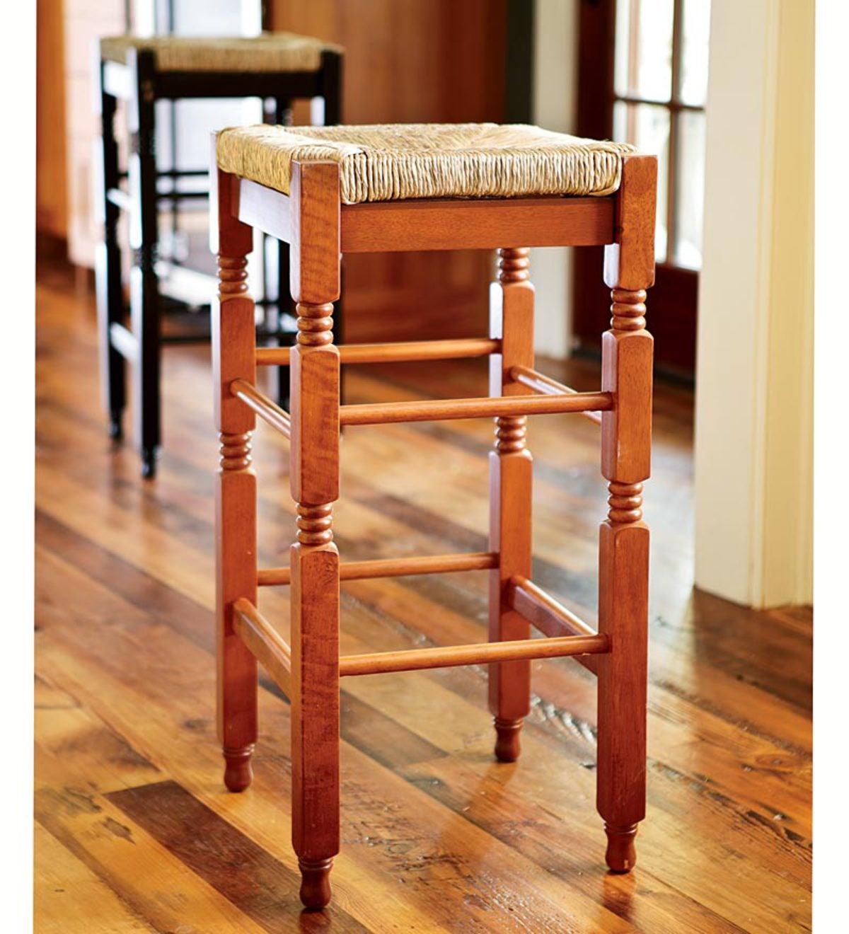 Acacia Wood Rush Seat Bar Stool