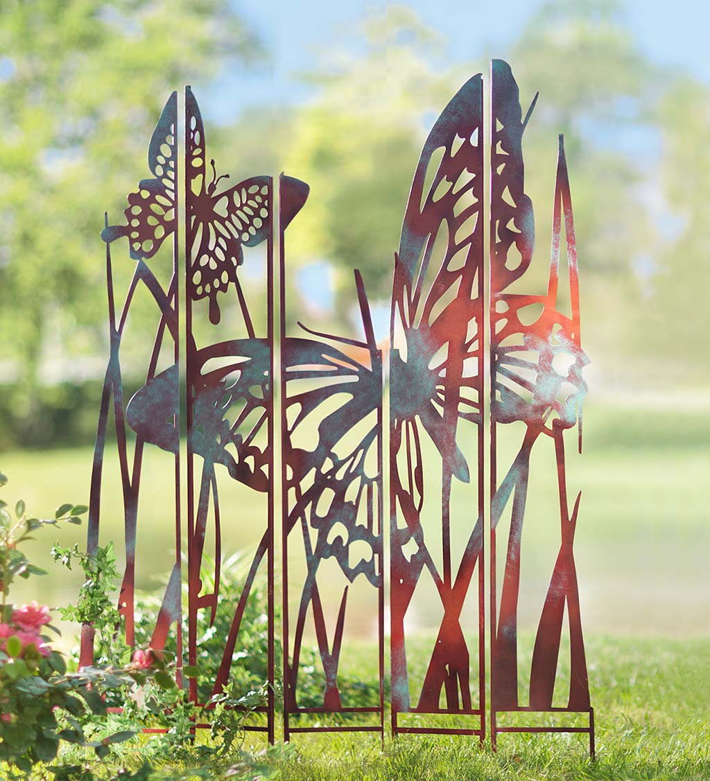 Pathway Set of 2 Walkway Yard VOTENVO 16 Inch Butterfly Garden Stake Decor Lawn Metal Butterfly Wall Art 3D Decoration for Yard Outdoor Ornaments