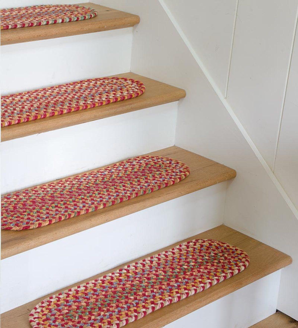 Genial Blue Ridge Wool Oval Braided Stair Tread, 8