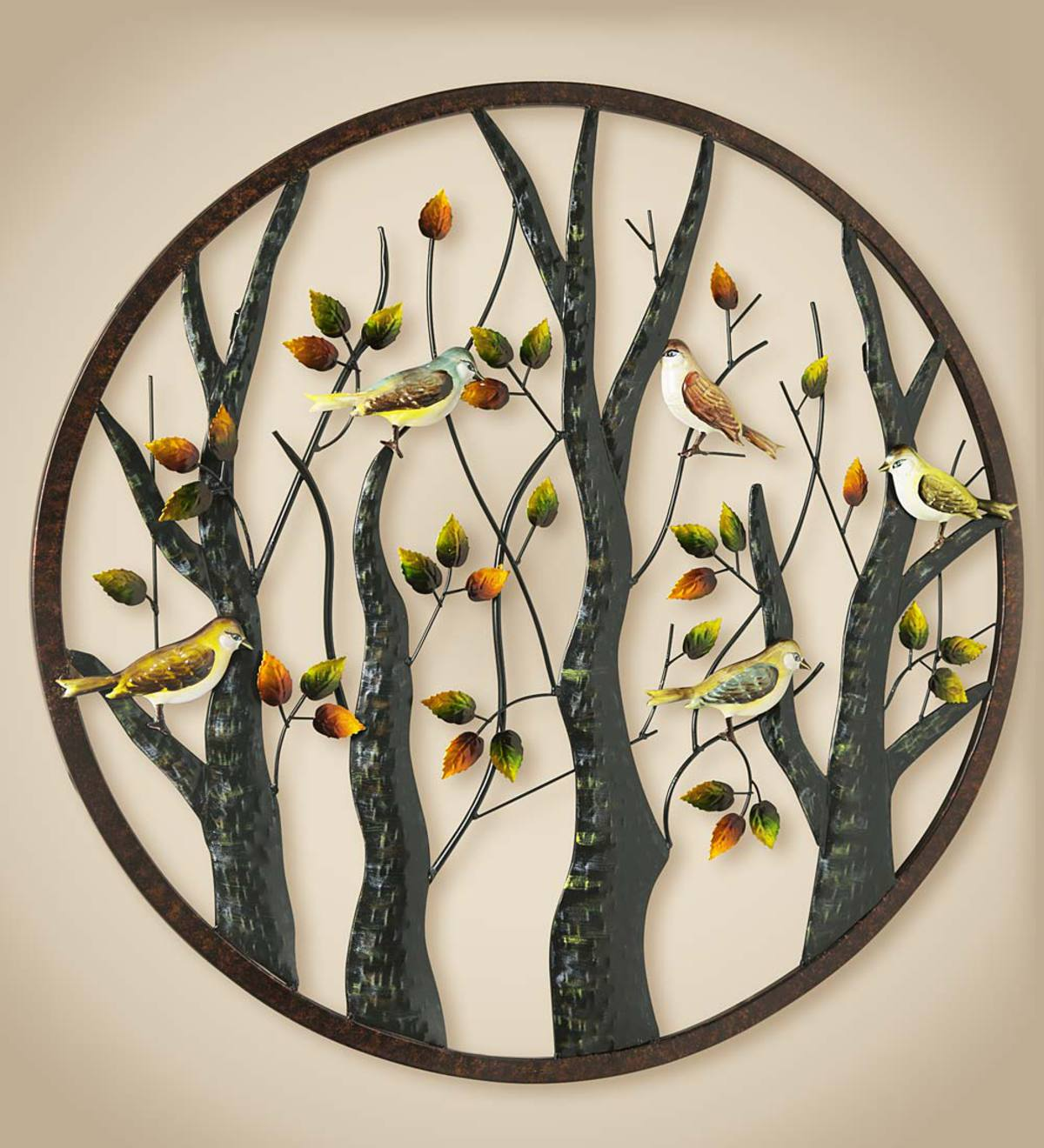 Metal Wall Art With Colorful Birds And Trees