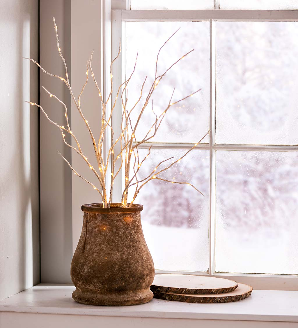 Indoor/Outdoor Lighted Birch Branches, Set of 2
