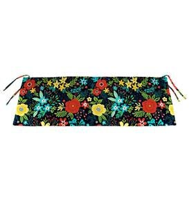 "Polyester Classic Swing/Bench Cushion, 47"" x 16""x 3"" - Black Floral"