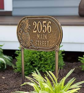 Personalized Pineapple Address Plaque Lawn Stake - Antique Brass