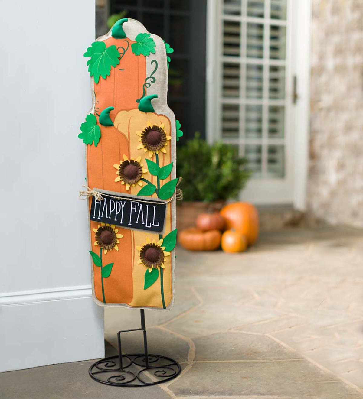 Sunflowers And Pumpkins Burlap Banner Statement Stake