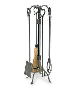 Shepherd's Crook Fireplace Tool Set In Vintage Iron Finish