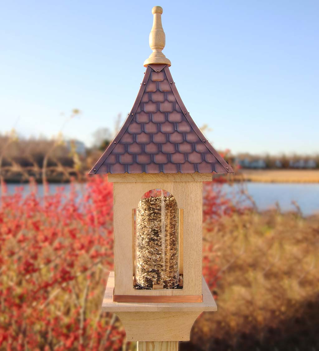 Hand-Hammered Copper and Unstained Hardwood Villa-Style Bird Feeder