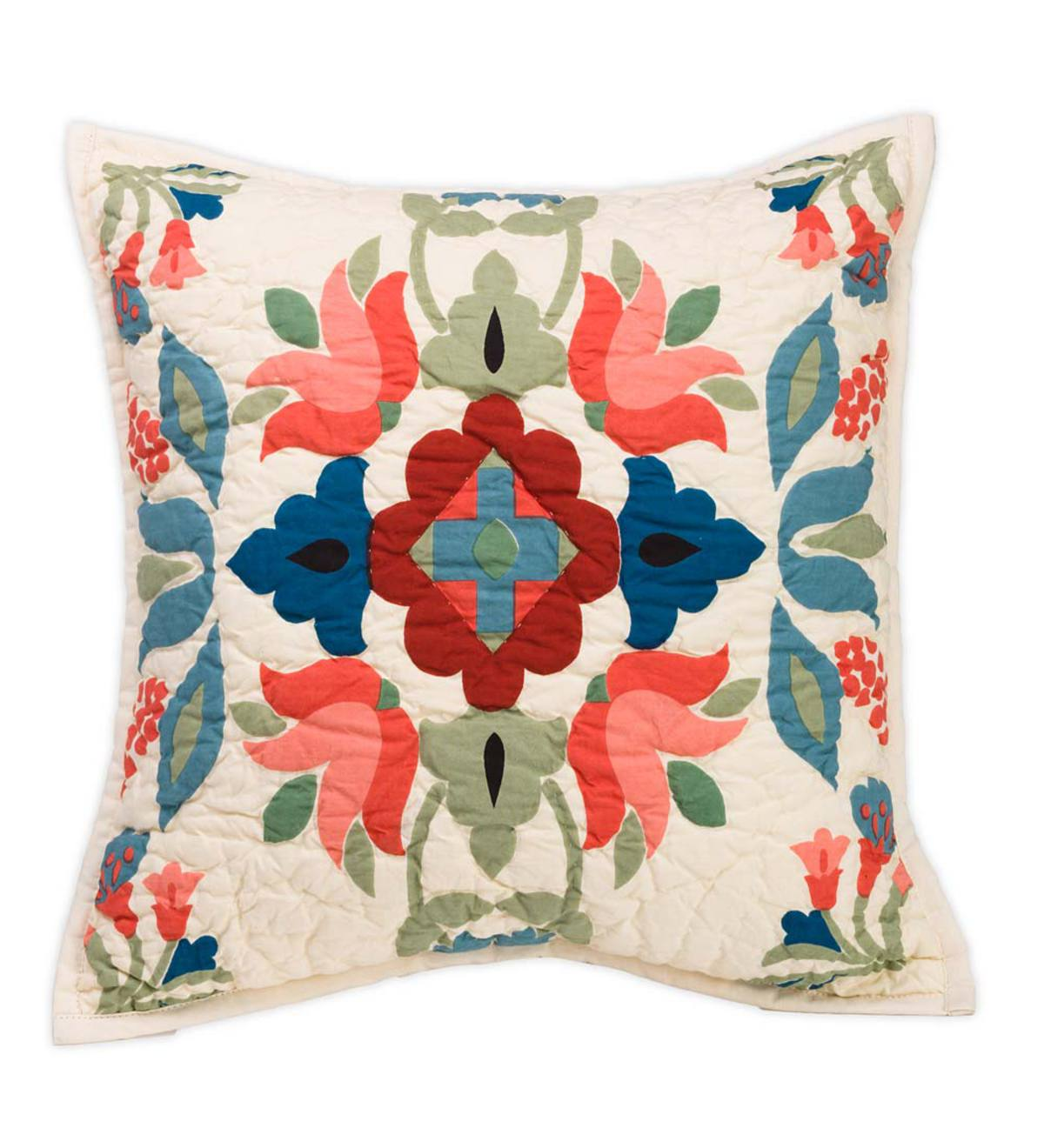 Ansley Folk Art Throw Pillow in Cream - Cream