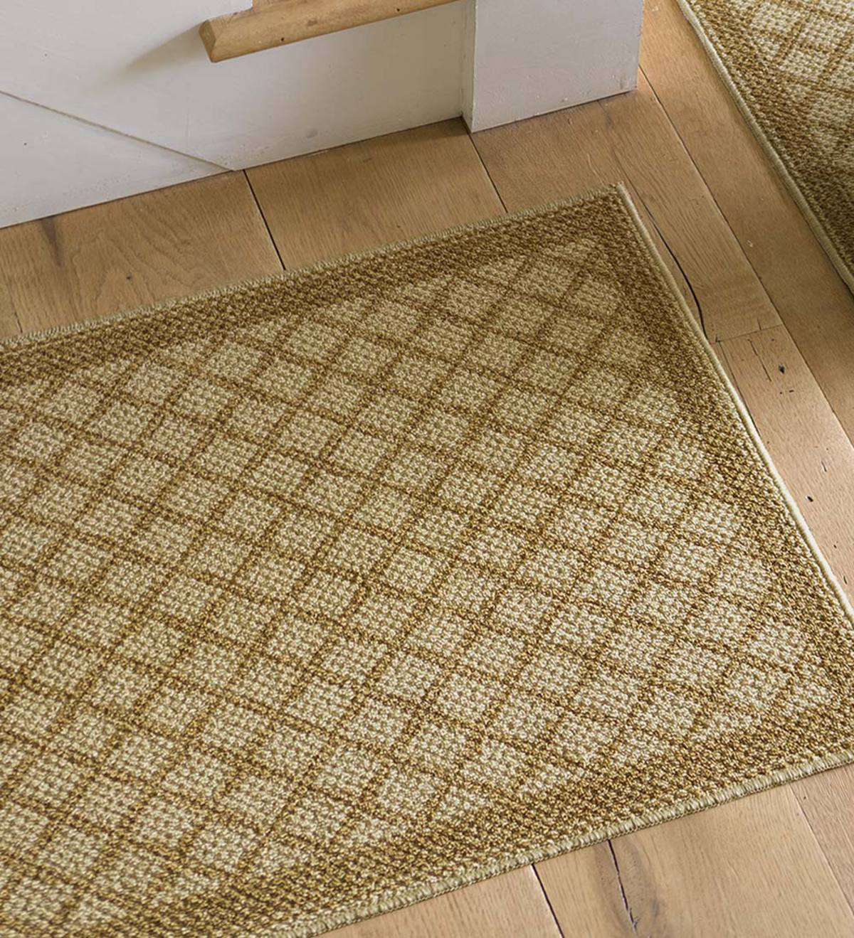 "Non-Slip Indoor Rug with Tan Lattice, 20""x 34"""