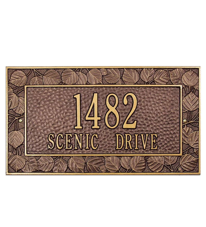 American-Made Personalized Aspen Address Plaque In Cast Aluminum