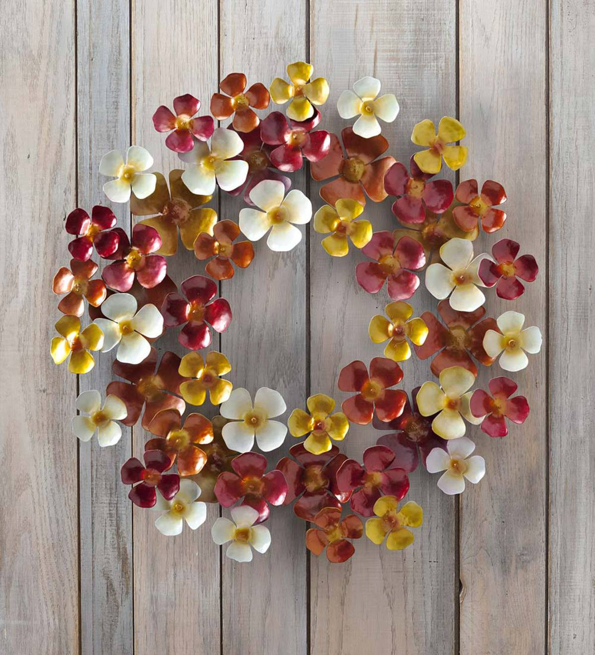 Handmade Colorful Metal Flower Wreath