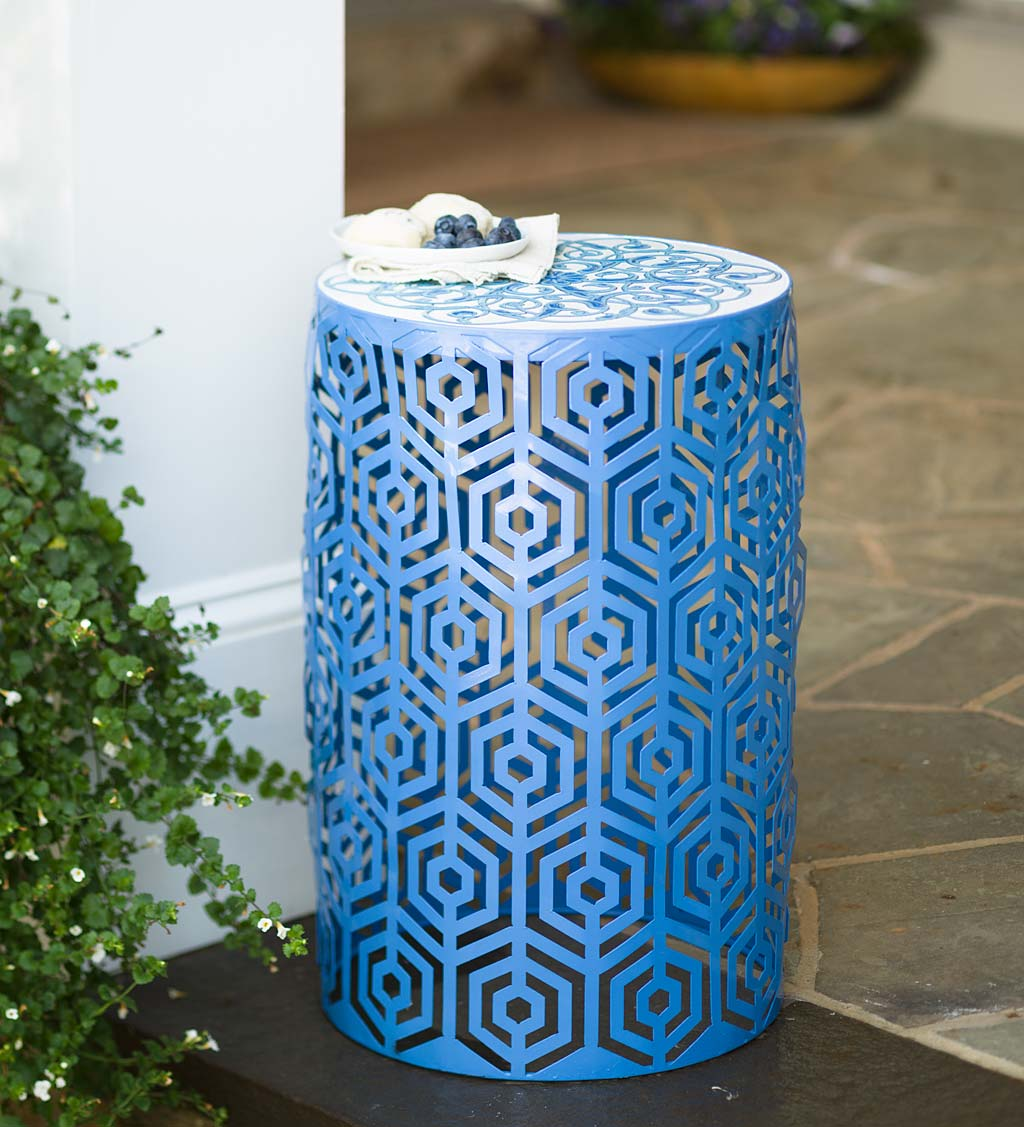 Indoor Outdoor Lighted Metal Cutout Side Table with Decorative Top