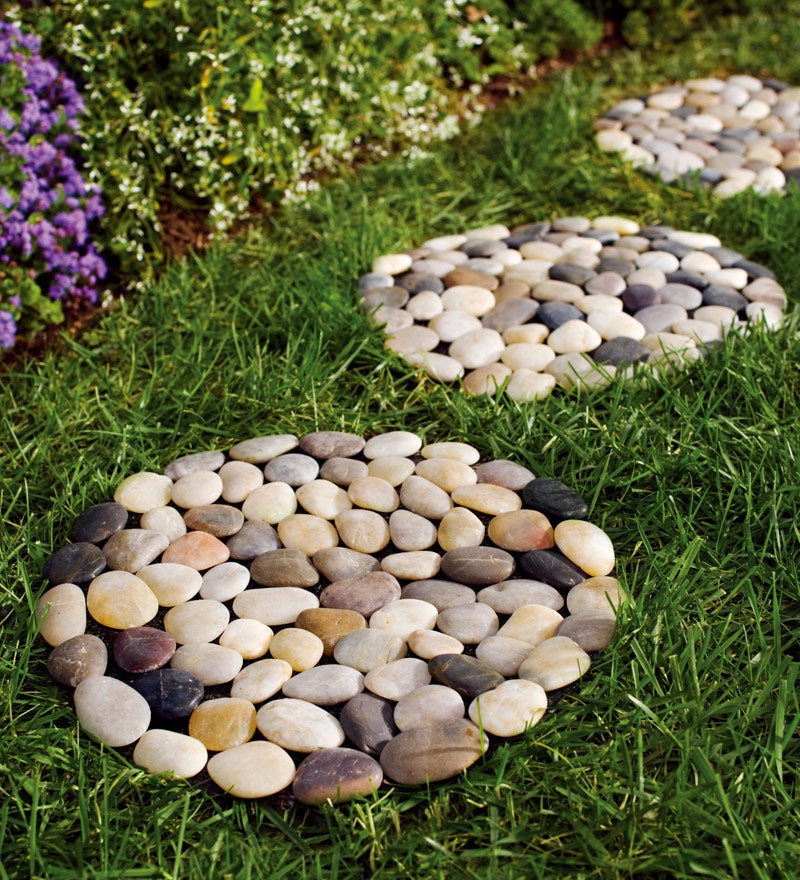 Natural River Rock Stepping Stones with Flexible PVC Backing, Set of 3