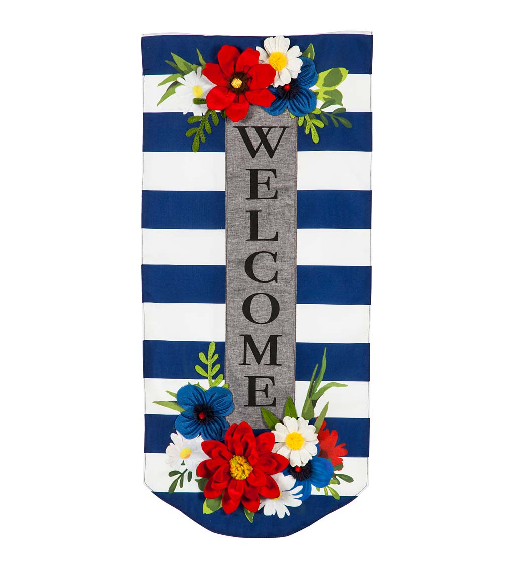 Striped Floral Americana Long Welcome Garden Flag Plowhearth