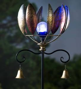 Copper Leaf Wind Spinner with Solar Ball and Bells