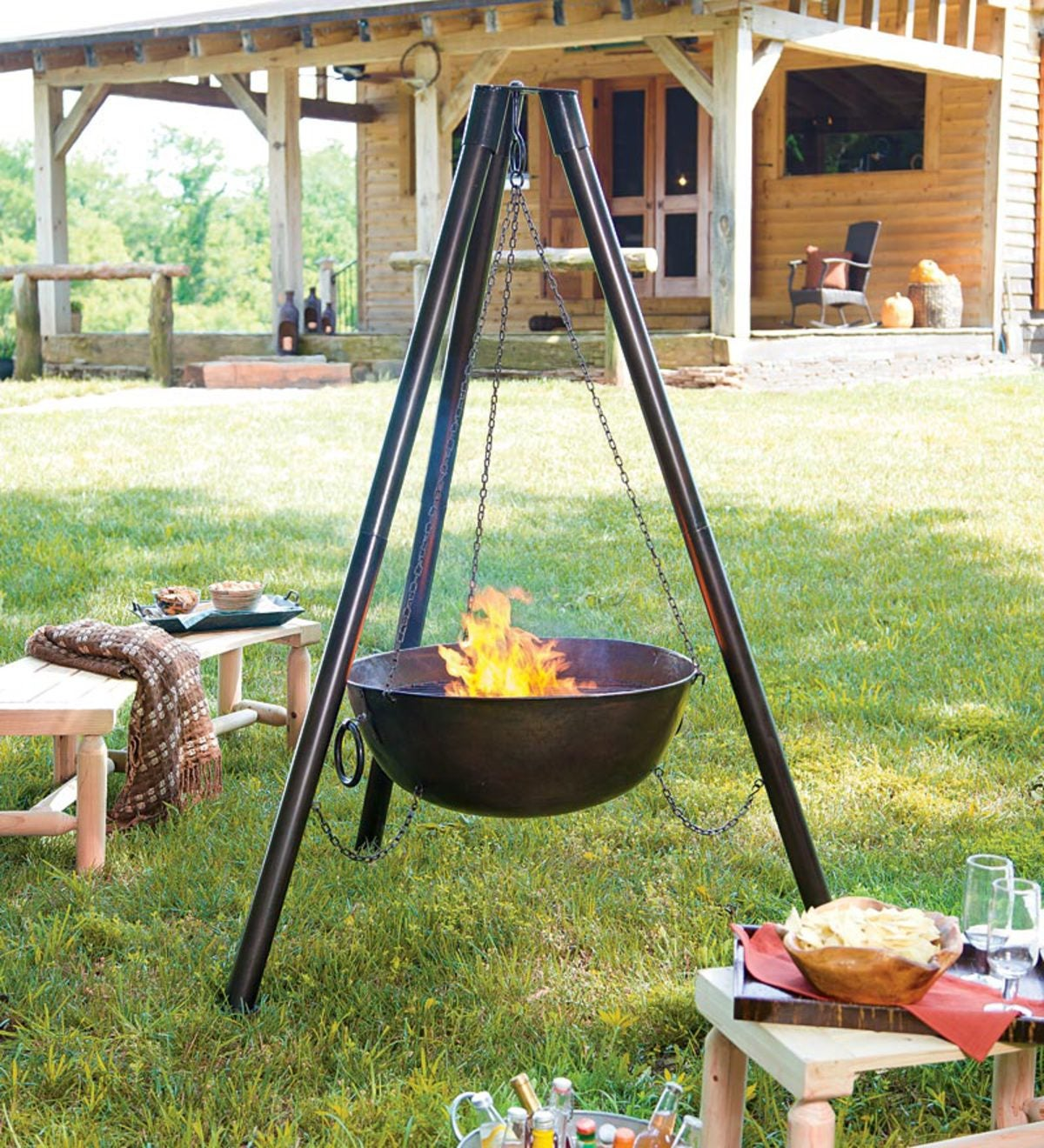Steel Campfire Cauldron Tripod Fire Pit With Cooking Grill ...