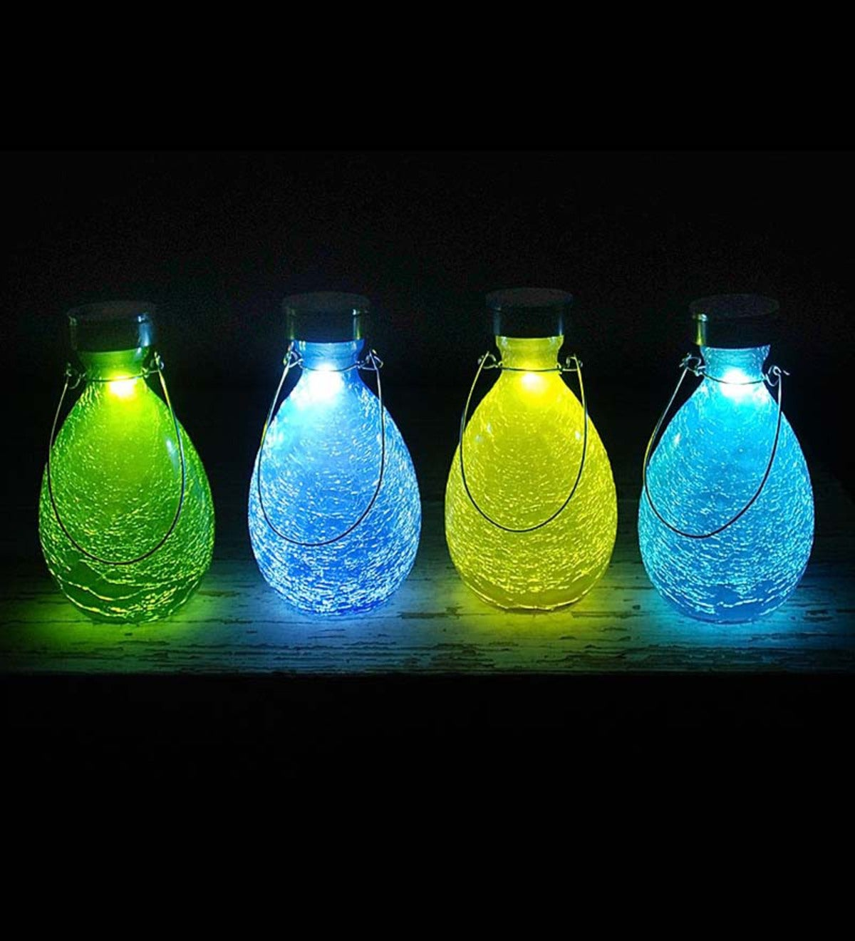 Crackled Glass Teardrop Solar Lantern