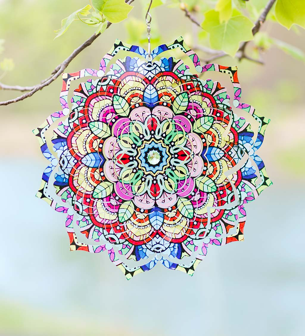 Mandala Flower Optical Illusion Hanging Metal Spinner