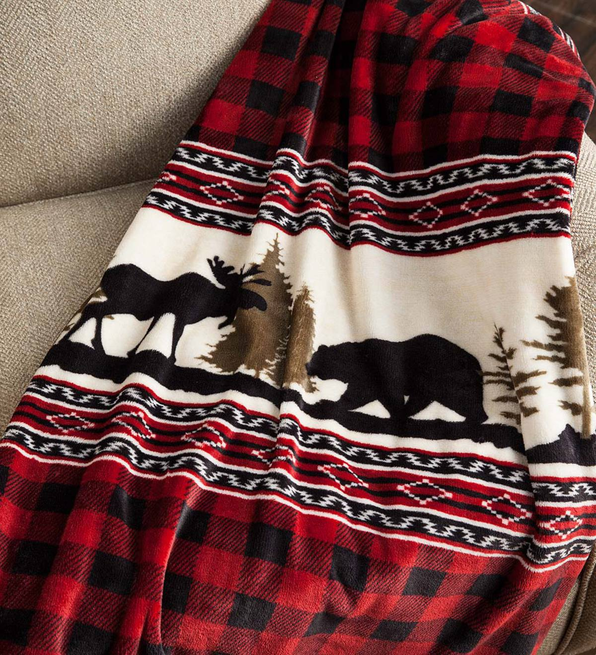 Wilderness Buffalo Plaid Fleece Throw Plowhearth