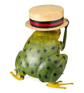Metal Frog With Hat Side Table