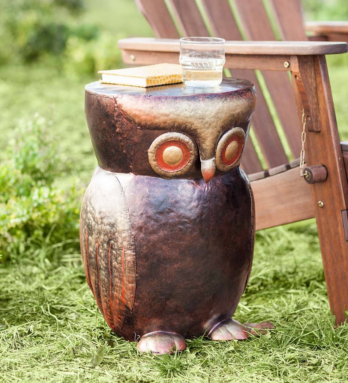 Handcrafted Metal Owl Side Table