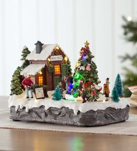 Lighted Christmas Village Music Box