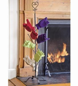 Decorative Mitten Tree With Heart Finial And Optional Interchangeable Seasonal Finials