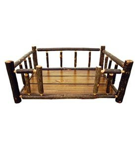 Large USA-Made Handcrafted Hickory Dog Rail Bed