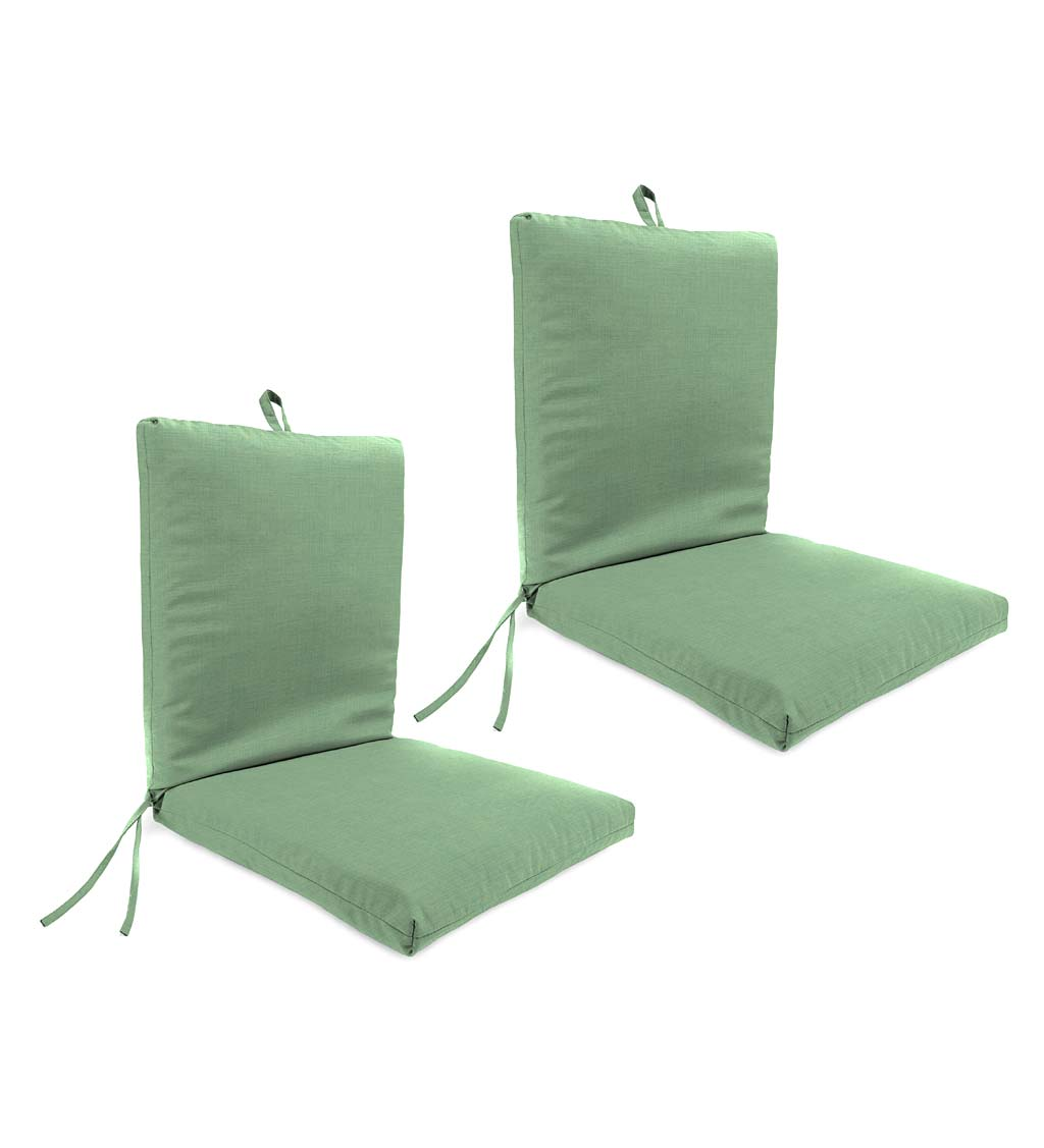Indoor/Outdoor Classic Club Chair Cushion with Hinge and Ties, Set of 2