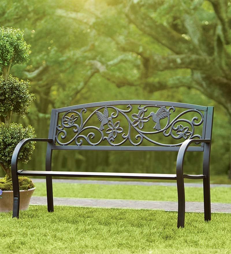 Hummingbird Metal Garden Bench Black, Black Cast Aluminium Garden Bench