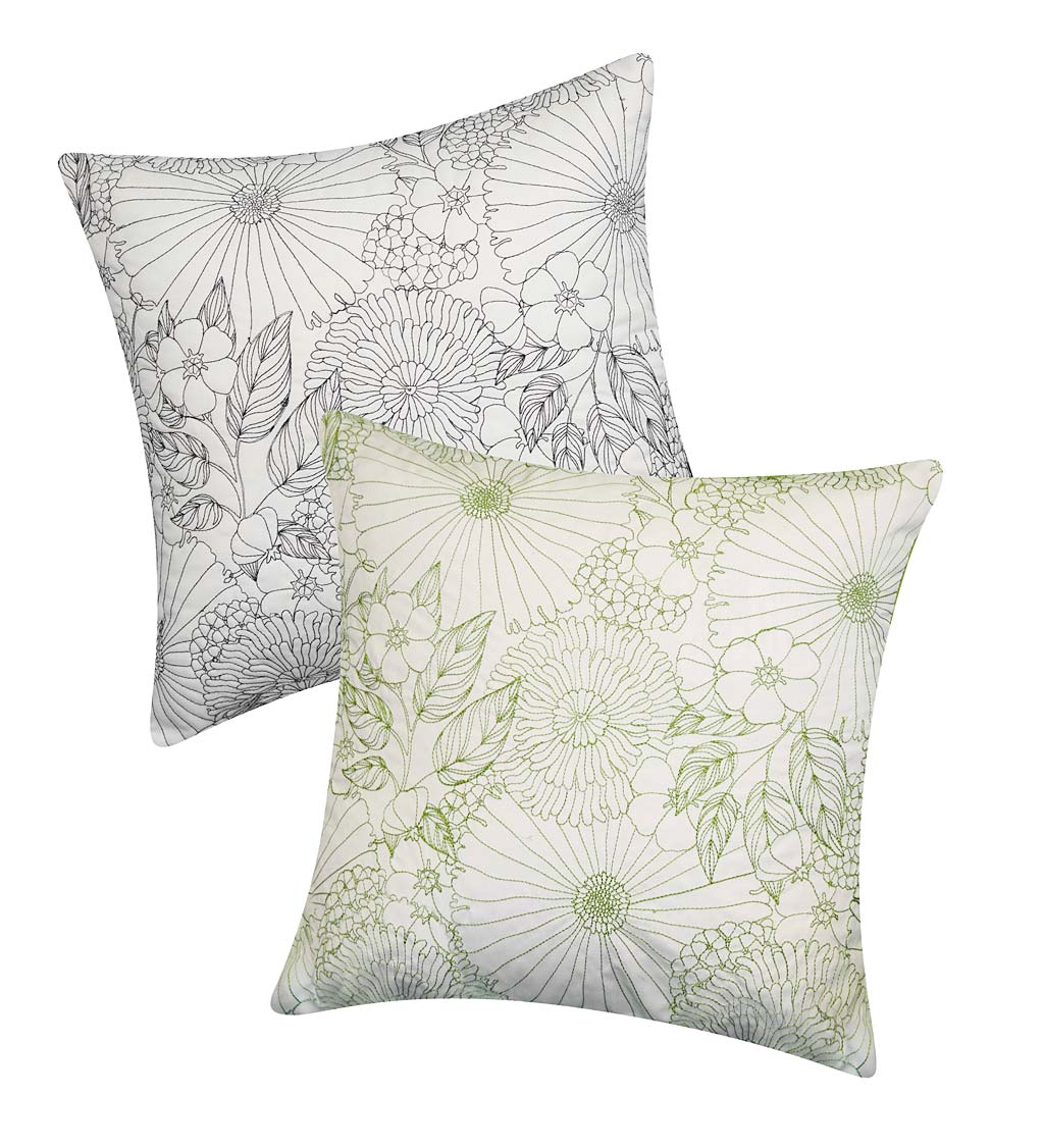 Indoor/Outdoor Summer Garden Floral Throw Pillow