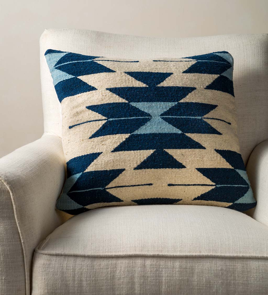 Mexican Pedal Loom Pillow Cover- Aztec Blue