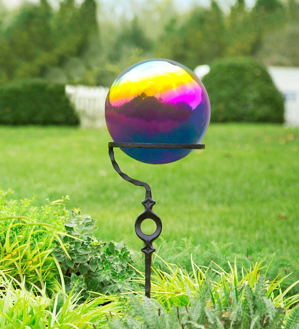 Metal Rainbow Gazing Ball with Wrought Iron Circle Stand