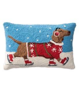 Hooked Wool Dachshund On Skates Holiday Lumbar Pillow Plowhearth