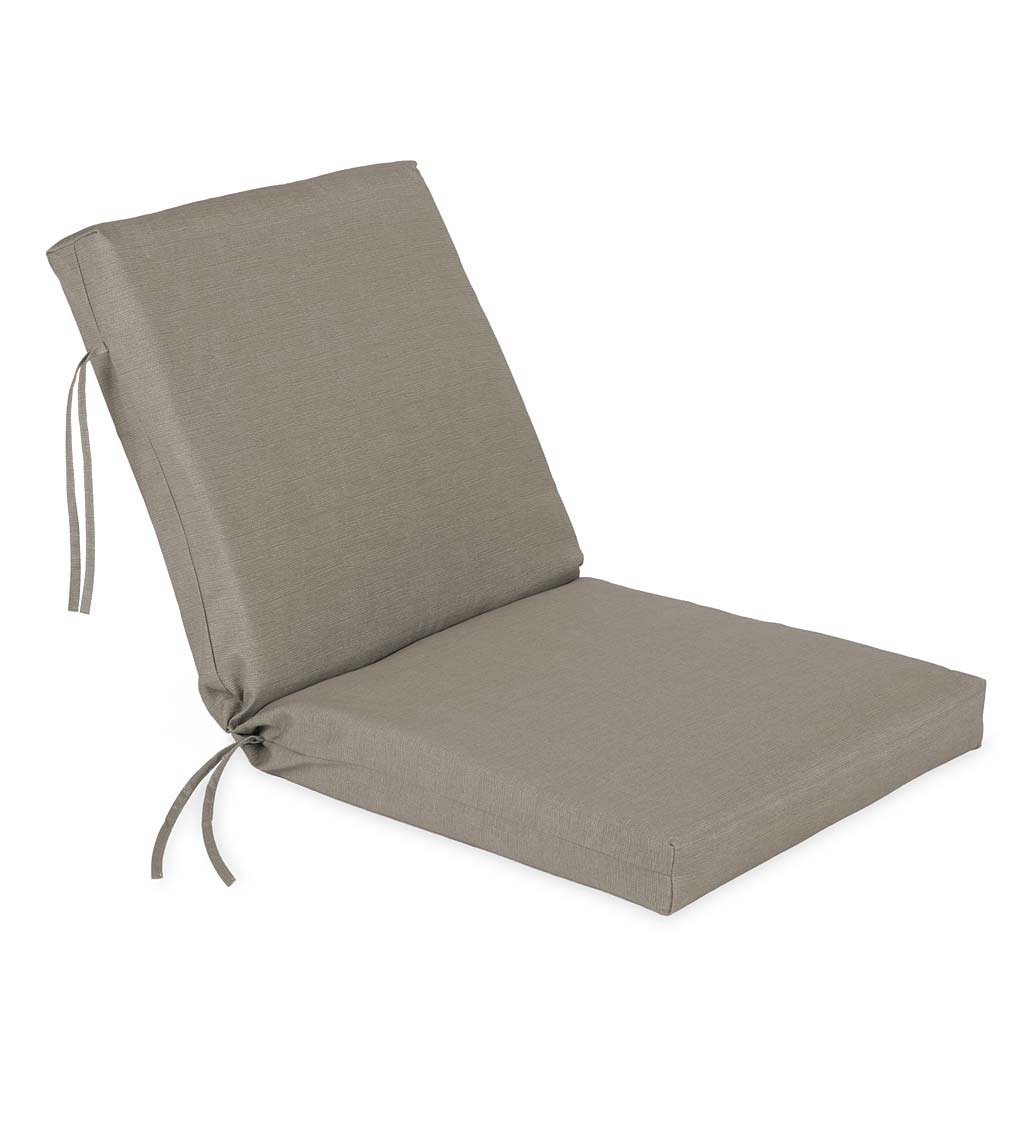 "Sunbrella Classic Large Club Chair Cushion With Ties, 44"" x 22"" with hinge 22"" from bottom"