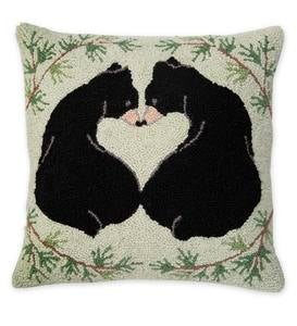 Hooked Wool Love Bears Throw Pillow