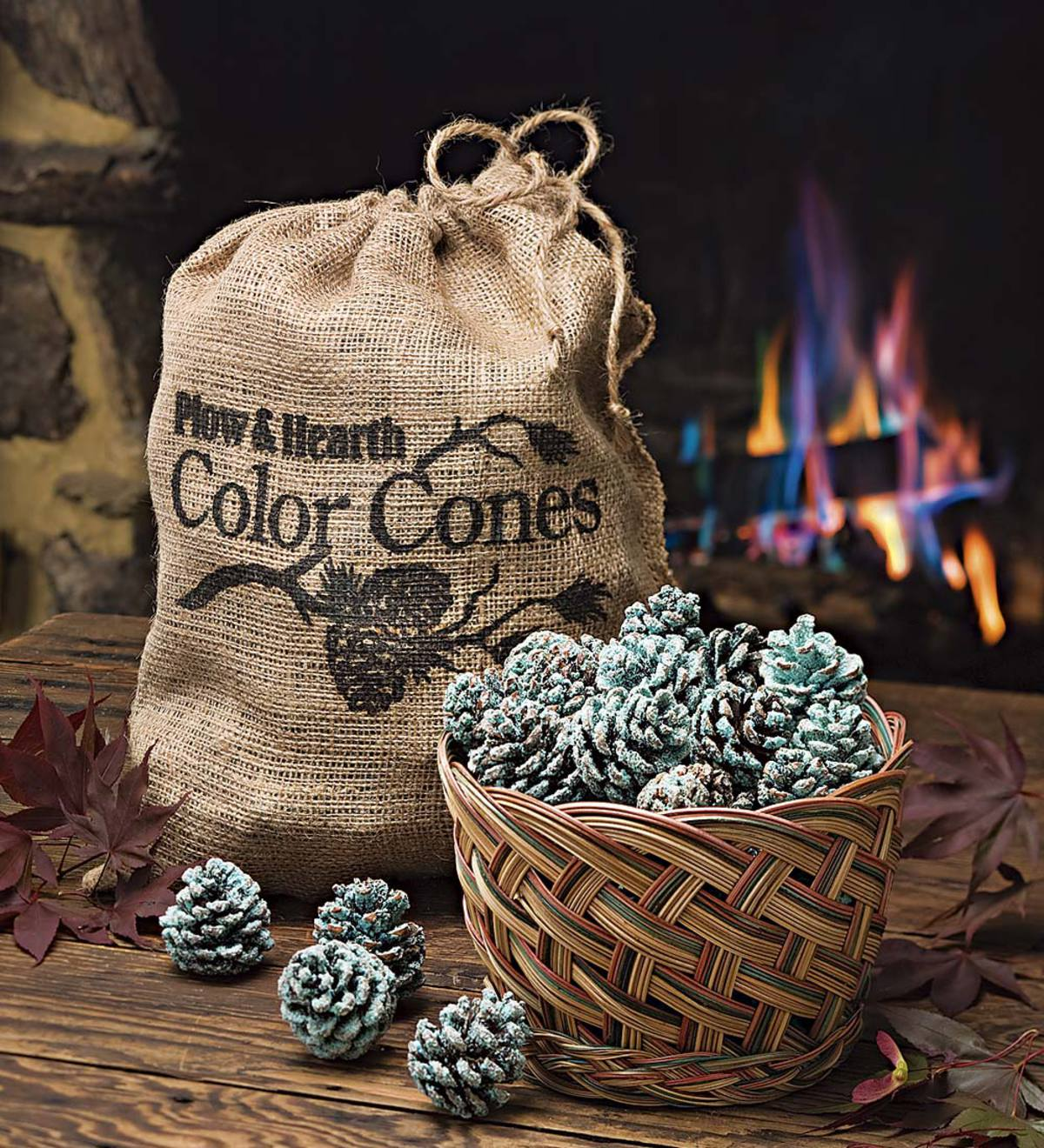 Color Cones that Create Blue and Green Flames in the Fireplace