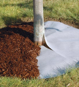 Mock Rock Block Edging Kit and Fabric Tree Ring Weed Barrier