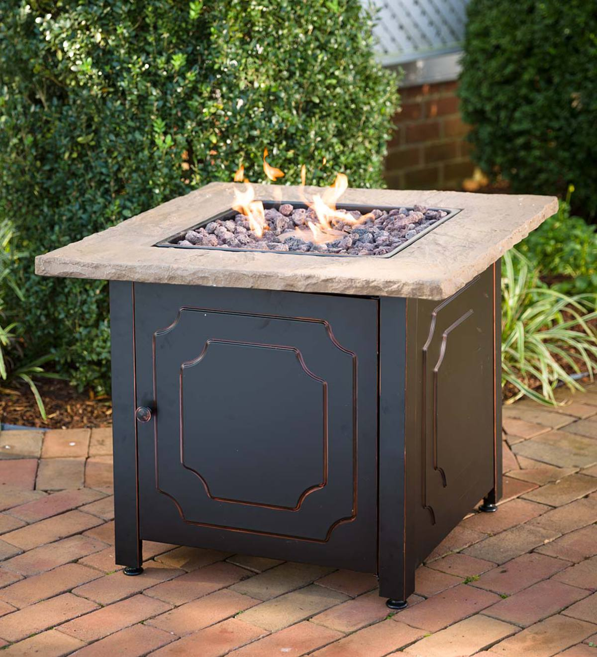 Chiseled Stone Propane Fire Pit with Cover