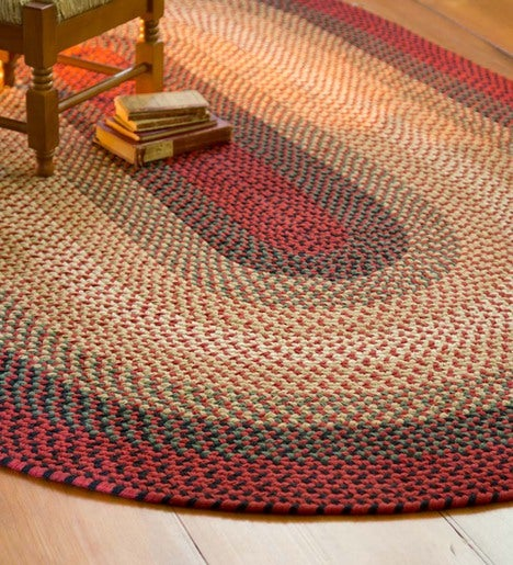 USA-Made Wool Braided Virginia Rug, 8' dia. Round