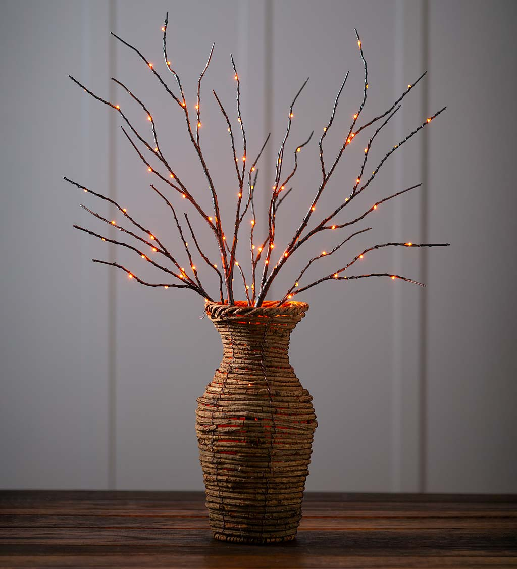 Indoor/Outdoor Lighted Halloween Black Tree Branches with 100 Orange LEDs, Set of 2