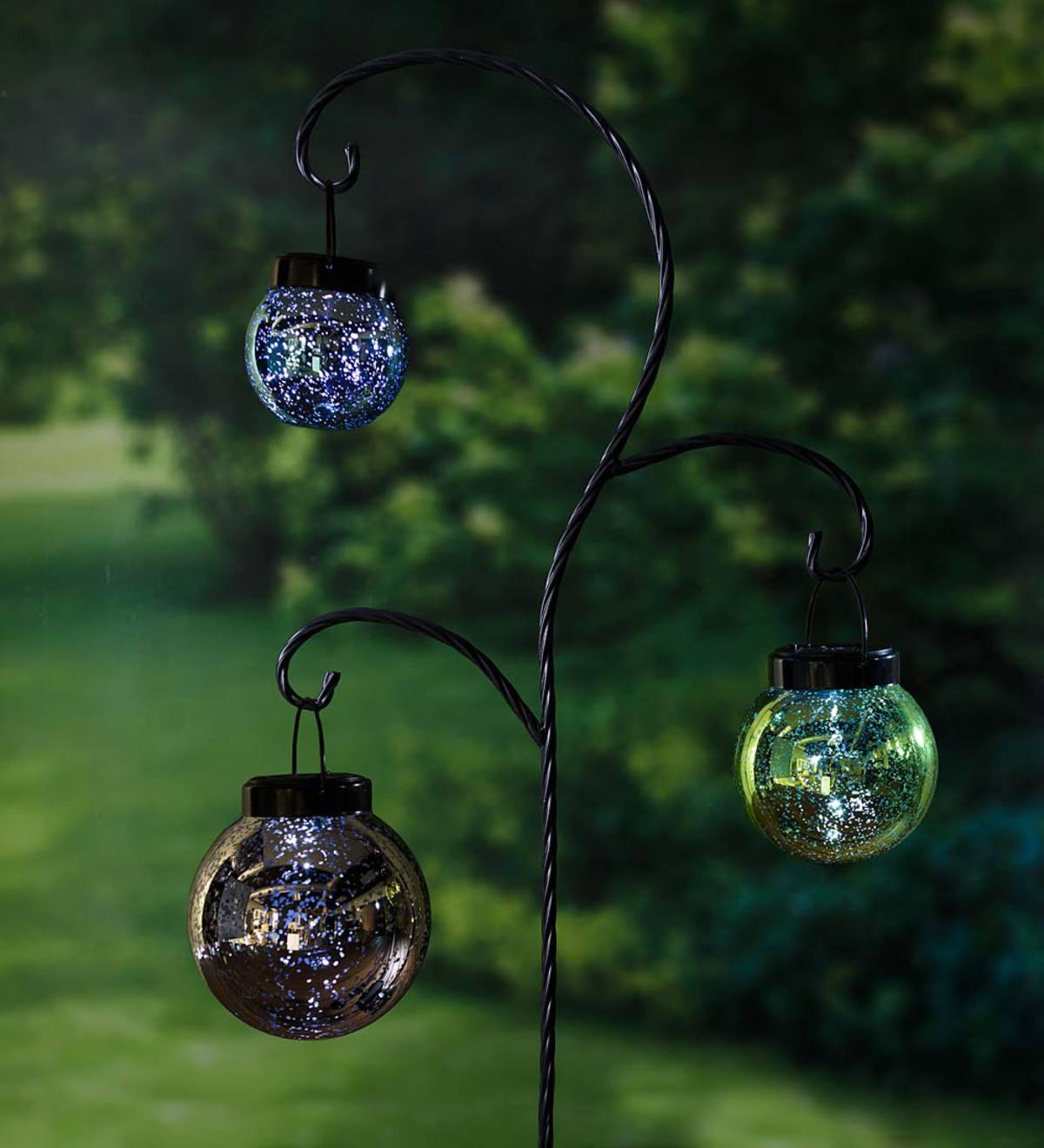 Hanging Mercury Glass Solar Lanterns with Garden Stake Set ...