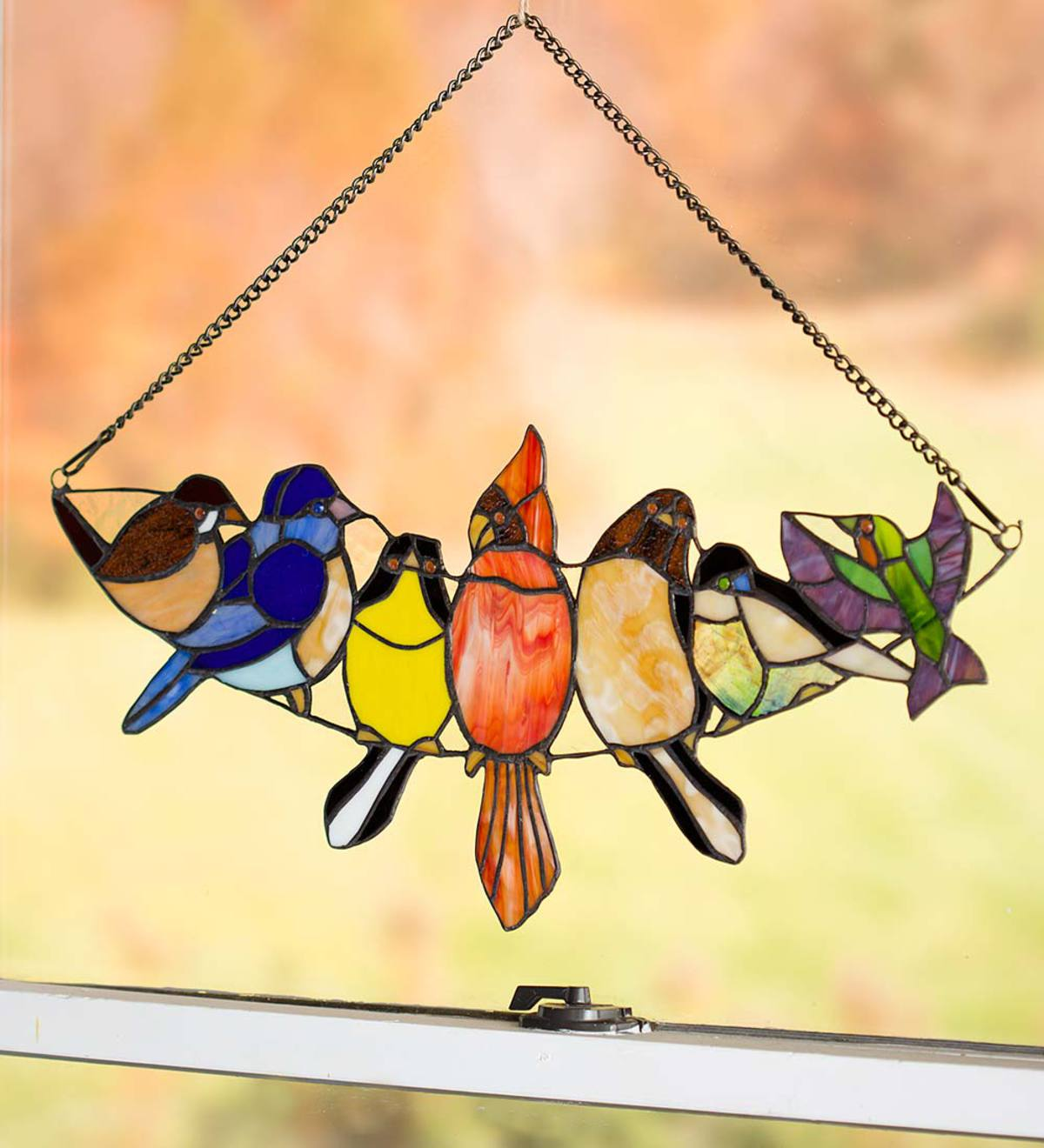Hanging Stained Glass Bird Art