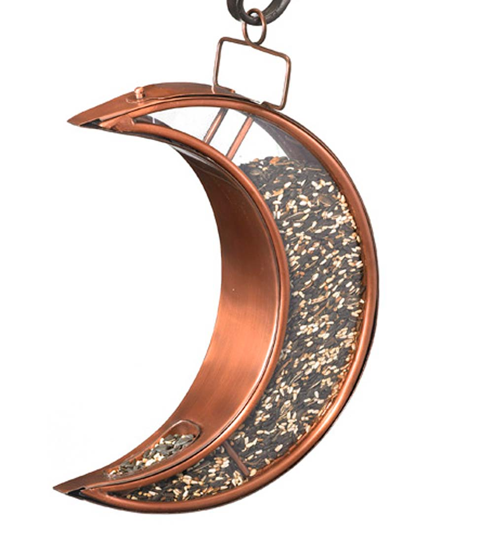 Copper and Plexiglass Crescent Moon Hanging Bird Feeder - Copper